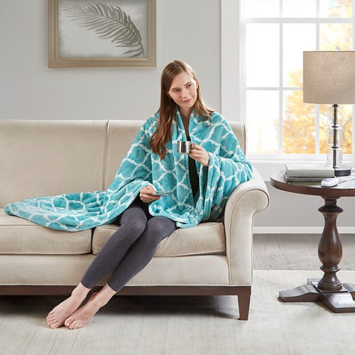 Heated Ogee Throw Teal (Heated Ogee-Teal-Throw)