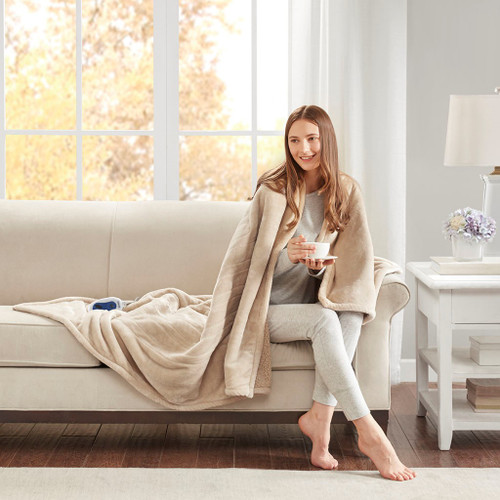 Heated Microlight to Berber Throw Beige (Heated Microlight-Beige-Throw)
