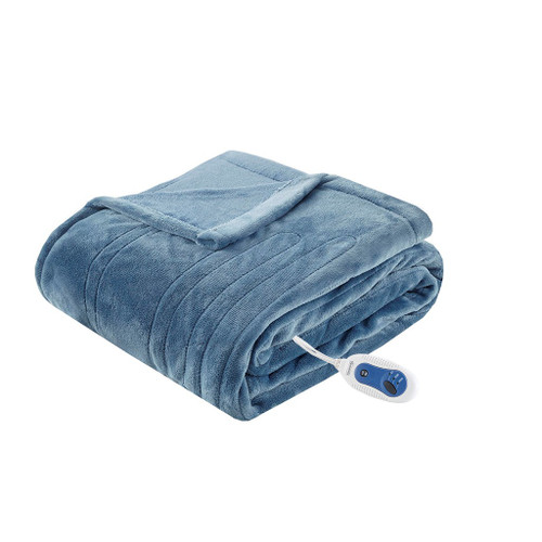 "Sapphire Blue Oversized Heated Plush Throw - 60x70"" (Heated Plush-Sapphire Blue-Throw)"
