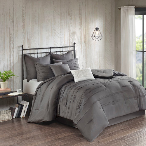 8pc Dark Grey Textured Comforter Set AND Decorative Pillows (Jenda-Grey)