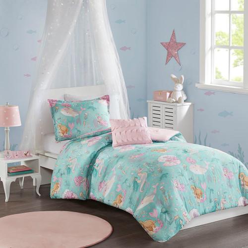 Aqua Blue & Pink Mermaids Reversible Comforter Set AND Decorative Pillow (Darya-Aqua/Pink-comf)