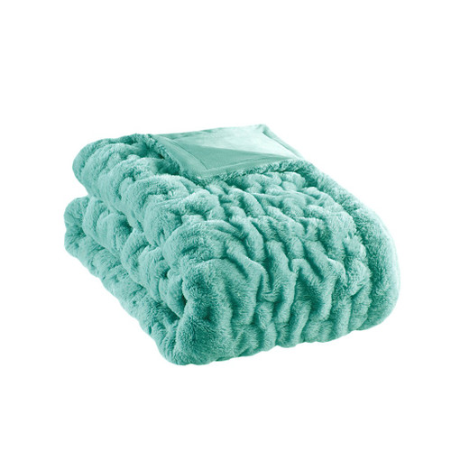 "Aqua Blue Ruched Faux Fur Reversible Throw - 50"" x 60"" (Ruched-Aqua)"