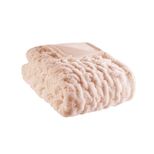 "Blush Pink Ruched Faux Fur Reversible Throw - 50"" x 60"" (Ruched-Blush)"