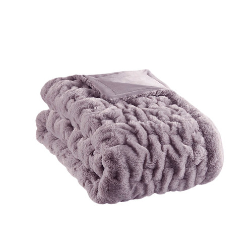 "Lavender Purple Ruched Faux Fur Reversible Throw - 50"" x 60"" (Ruched-Lavender)"