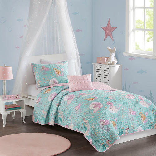 Aqua Blue & Pink Mermaids Reversible Coverlet Set AND Decorative Pillow (Darya-Aqua/Pink-cov)