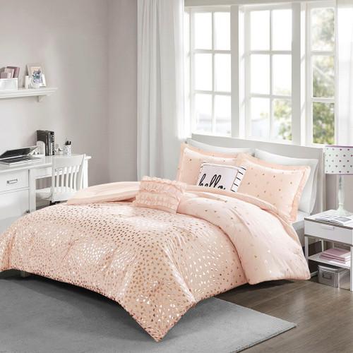 Blush Pink & Metallic Gold Reversible Comforter Set AND Decorative Pillows (Zoey-Blush/Rosegold)