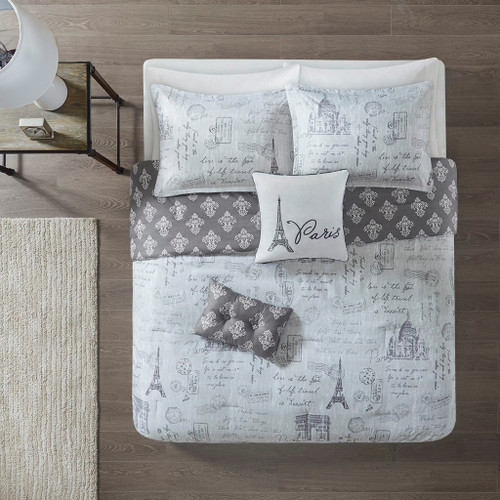 5pc Grey Reversible Paris Print Comforter Set AND Decorative Pillows (Marseille-Grey/Charcoal)