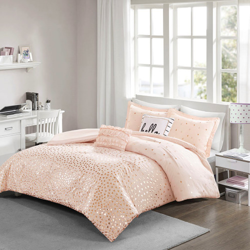 Blush Pink & Metallic Gold Reversible Duvet Cover Set AND Decorative Pillows (Zoey-Blush/Rosegold-Duv)