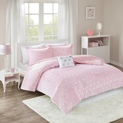 Pink & Silver Metallic Heart Design Comforter Set AND Decorative Pillow (Rosalie-Pink/Silver)