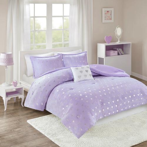 Purple & Silver Metallic Heart Design Comforter Set AND Decorative Pillow (Rosalie-Purple/Silver)