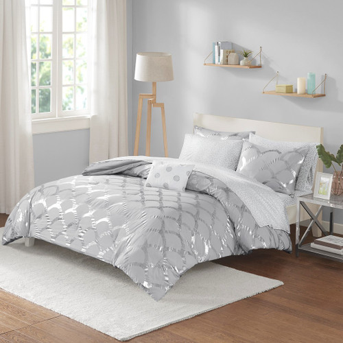 Grey & Metallic Silver Scallop Design Comforter Set AND Sheet Set (Lorna-Grey)