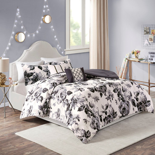Black & Off White Reversible Floral Print Comforter Set AND Decorative Pillows (Dorsey-Black/White)