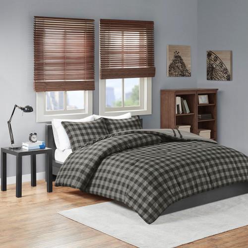 Grey & Black Reversible Buffalo Check Comforter AND Decorative Shams (Oxford-Grey)