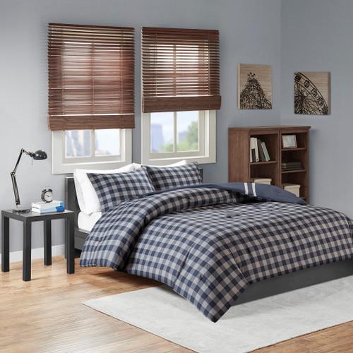 Navy Blue & Grey Reversible Buffalo Check Comforter AND Decorative Shams (Oxford-Navy)