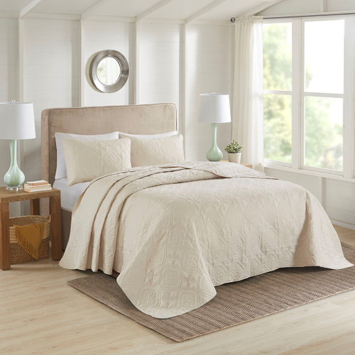 3pc Cream Quilted Medallion Reversible Bedspread AND Decorative Shams (Oakley-Cream-cov)