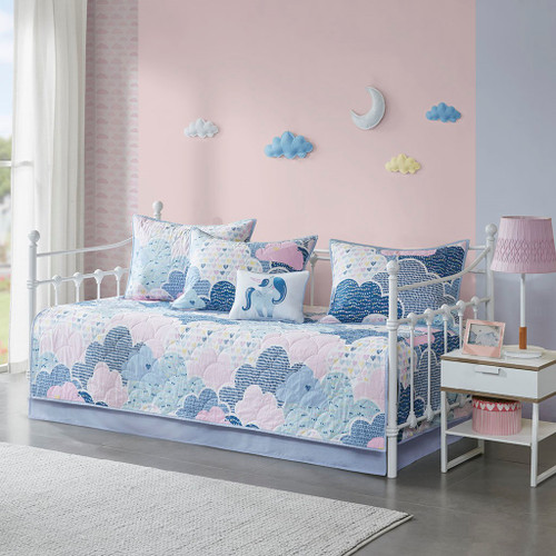 6pc Blue Purple & Pink Playful Clouds Quilted Daybed Set AND Decorative Pillow (Cloud-Purple-DB )