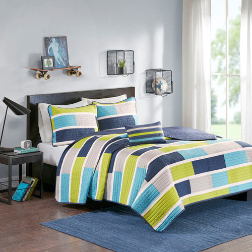 Blue & Lime Green Colorblock Coverlet Quilt Set AND Decorative Pillow (Bradley-Blue/Lime Green)