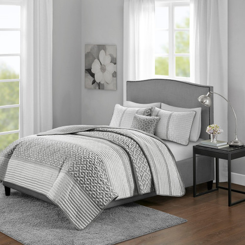 4pc Grey & White Geometric Reversible Coverlet Set AND Decorative Pillows (Bennett-Grey-cov)