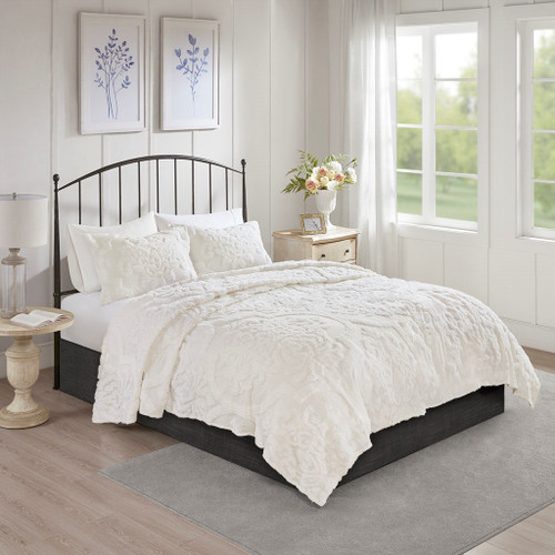 3pc White Tufted Cotton Chenille Damask Coverlet AND Decorative Shams (Viola-White-cov)