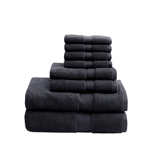 8pc Black 800GSM Long Staple Cotton Bath Towel Set (800GSM-Black)