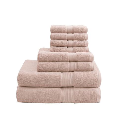 8pc Blush Pink 800GSM Long Staple Cotton Bath Towel Set (800GSM-Blush)