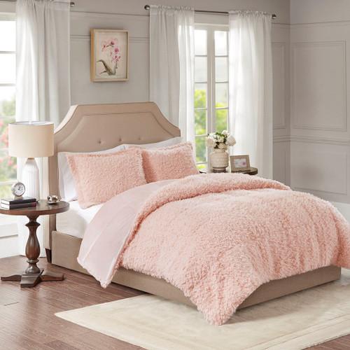 Blush Pink Faux Mohair Reversible Comforter AND Decorative Shams (Nova-Blush)