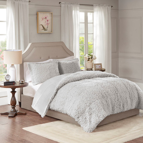 Grey Faux Mohair Reversible Comforter AND Decorative Shams (Grey-Blush)