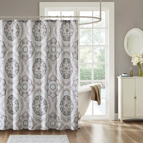 "Grey & Soft Blue Medallion Motif Cotton Printed Shower Curtain - 72x72"" (June-Grey-Shower)"