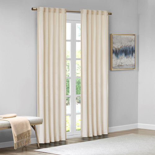 Set of 2 Ivory Soft Velvet BLACKOUT Window Panels - Room Darkening (Colt-Ivory-window)