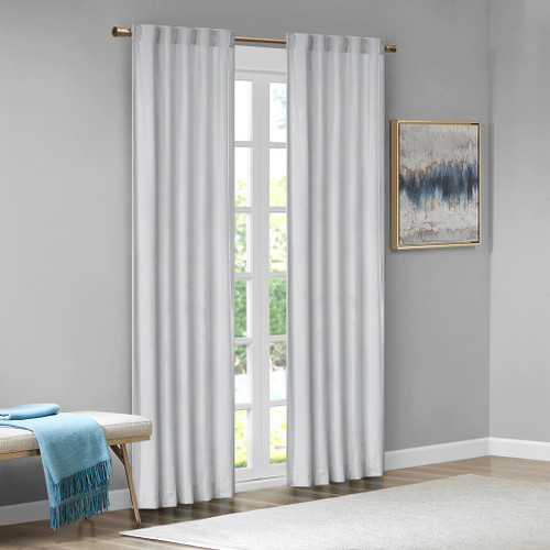 Set of 2 Light Grey Soft Velvet BLACKOUT Window Panels - Room Darkening (Colt-Light Grey-window)