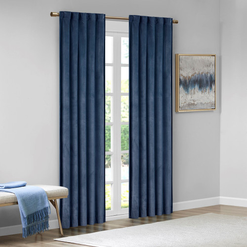 Set of 2 Navy Blue Soft Velvet BLACKOUT Window Panels - Room Darkening (Colt-Navy Blue-window)