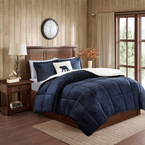 Navy & Ivory Plush Reversible Berber Comforter Set AND Decorative Pillow (Alton-Navy/Ivory)
