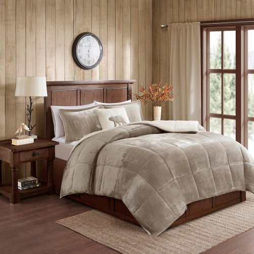 Taupe & Ivory Plush Reversible Berber Comforter Set AND Decorative Pillow (Alton-Taupe/Ivory)