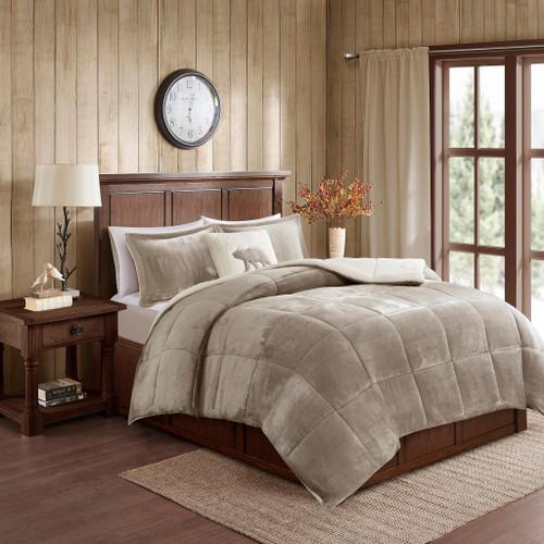 Taupe & Ivory Plush Reversible Berber Comforter Set AND Decorative Pillow (Alton-Taupe/Ivory)