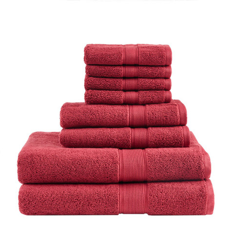8pc Red 800GSM Long Staple Cotton Bath Towel Set (800GSM-Red)