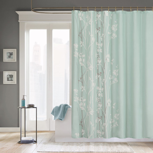 Sea Mist Green Floral Jacquard Fabric Shower Curtain - 72x72""