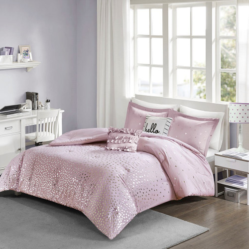 Purple & Metallic Silver Reversible Comforter Set AND Decorative Pillows (Zoey-Purple/Silver)