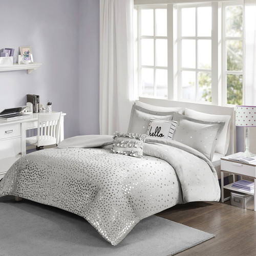 Grey & Metallic Silver Reversible Duvet Cover Set AND Decorative Pillows (Zoey-Grey/Silver-Duv)