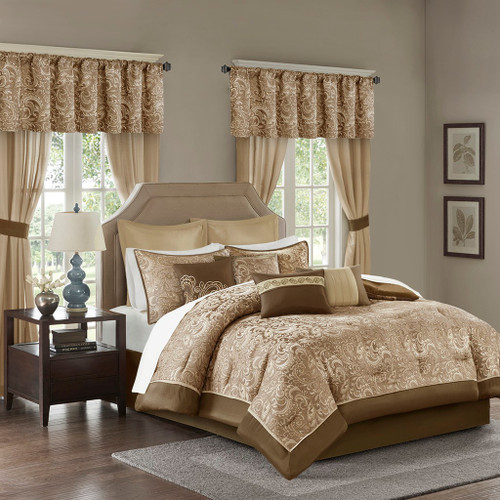 24pc Brown & Gold Paisley Comforter Set, Sheets, Pillows, Curtains AND More (Brystol-Brown)