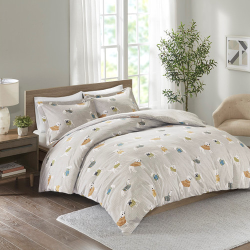 Cozy Grey Dogs Flannel Duvet Set (Cozy-Grey Dogs-Duv)