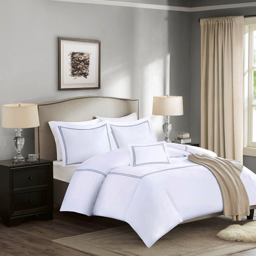 Luxury 4pc Grey & White 1000 Thread Count Embroidered Cotton Sateen Duvet Cover Set (Luxury -Grey-Duv)