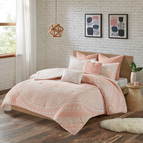 7pc Blush Pink & White Geometric Medallion Comforter Set AND Decorative Pillows (Larisa-Blush)