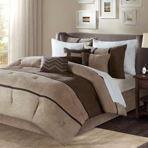 7pc Brown & Khaki Microsuede Comforter Set AND Decorative Pillows (Palisades-Brown)