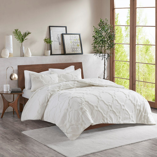 Pacey White 3 Piece Tufted Cotton Chenille Geometric Duvet Cover Set (Pacey -White-Duv)