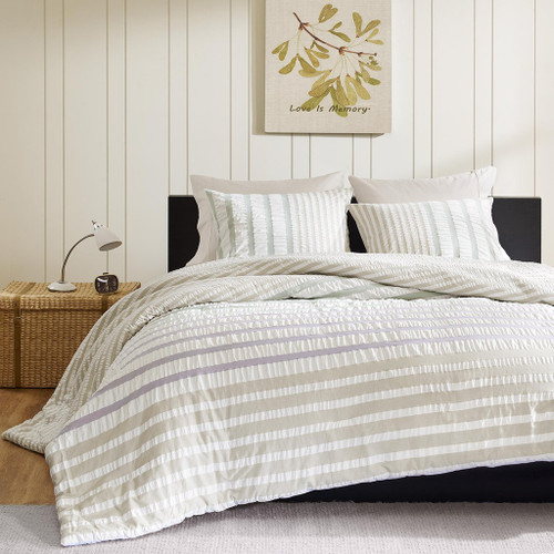 Khaki & Green Striped Seersuckle Cotton Duvet AND Decorative Shams
