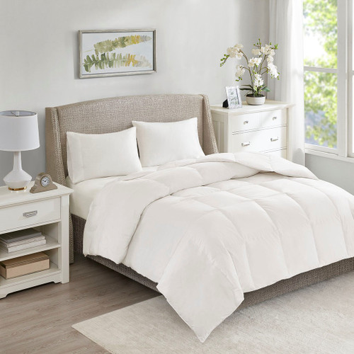 All Season Warmth White Oversized 100% Cotton Down Comforter (All Season Warmth -White-Comf)