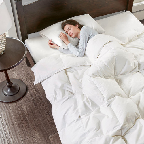 Light Warmth White Oversized 100% Cotton Down Comforter (Light Warmth- White-Comf)