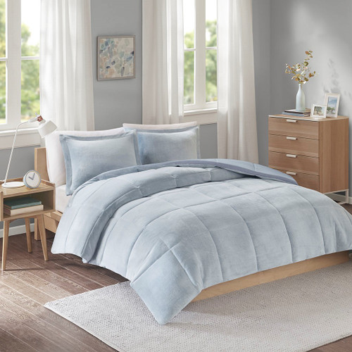 Carson Blue Reversible Frosted Print Plush to Heathered Micofiber Comforter Set (Carson -Blue-Comf)