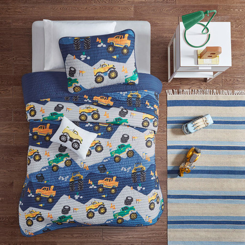 Nash Blue Reversible Coverlet Set (Nash -Blue-Cov)