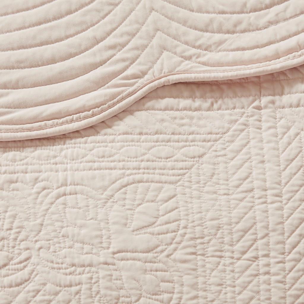 Tuscany Blush 3 Piece Reversible Scalloped Edge Coverlet Set (Tuscany -Blush-Cov)